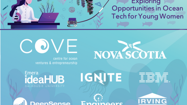 COVE and partner logos for Exploring Opportunities in Ocean Tech for Young Women program